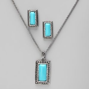 Turquoise and Glass Crystal Necklace/Earring Set